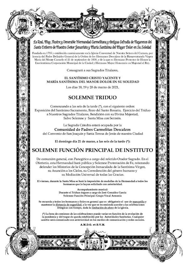 El Santo Entierro de San Fernando anuncia sus cultos