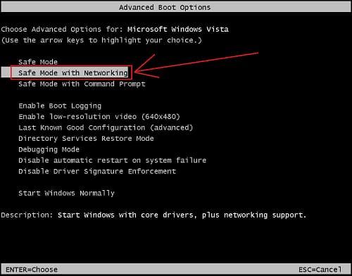 Windows vista safe boot Advanced options