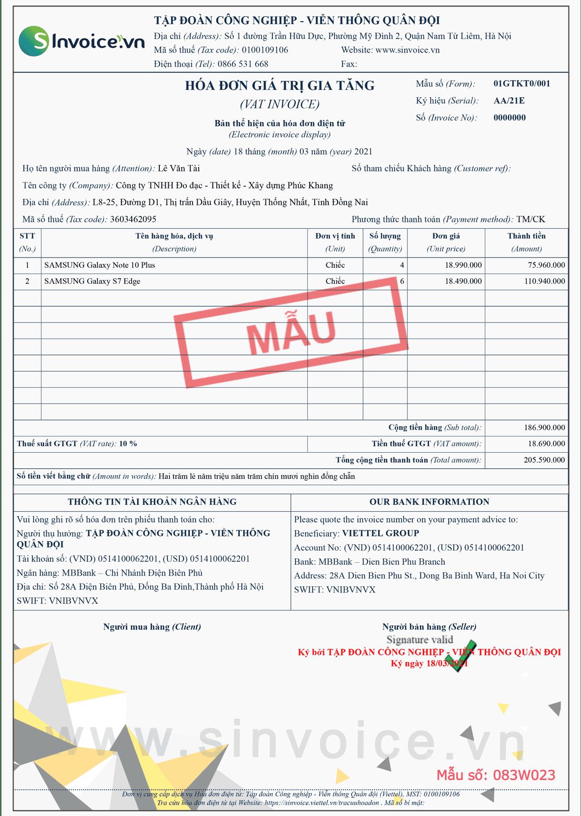Mẫu hóa đơn điện tử số 083W023
