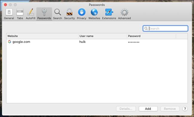 password safari google