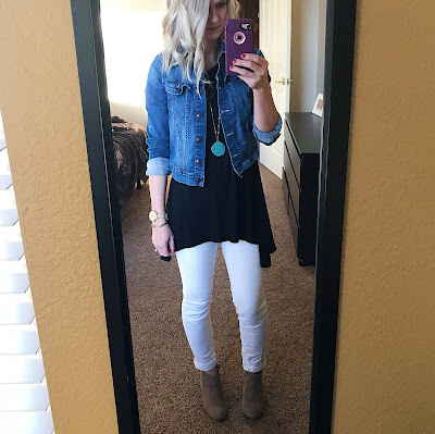 Thrifty Wife, Happy Life- Preschool teacher outfit ideas. White jeans with denim jacket and white jeans