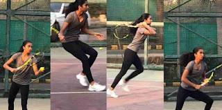 Aiyana Paes Playing Tennis