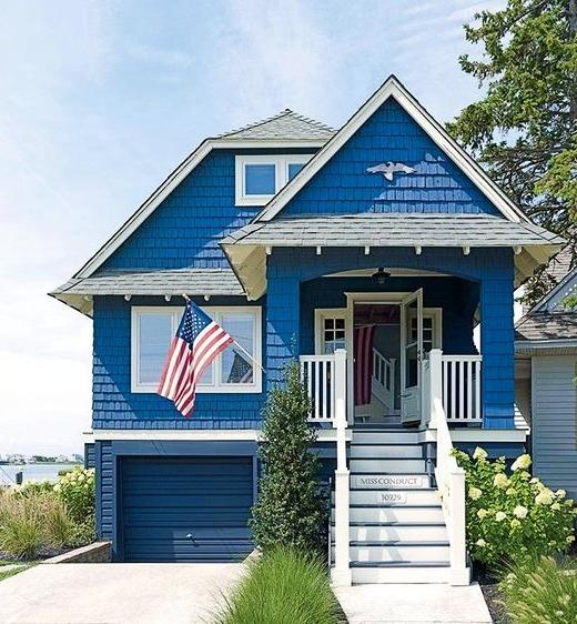Navy Blue House Exterior Seaside