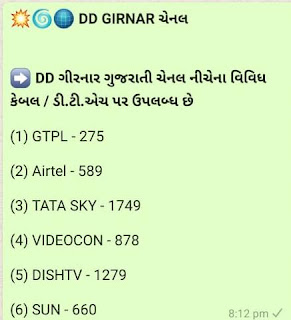 DD Girnar Channel Numbers [Cable + Channel]