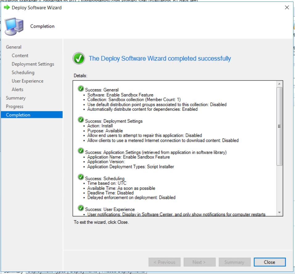 Deploy Windows Sandbox through SCCM for standard user - Syst