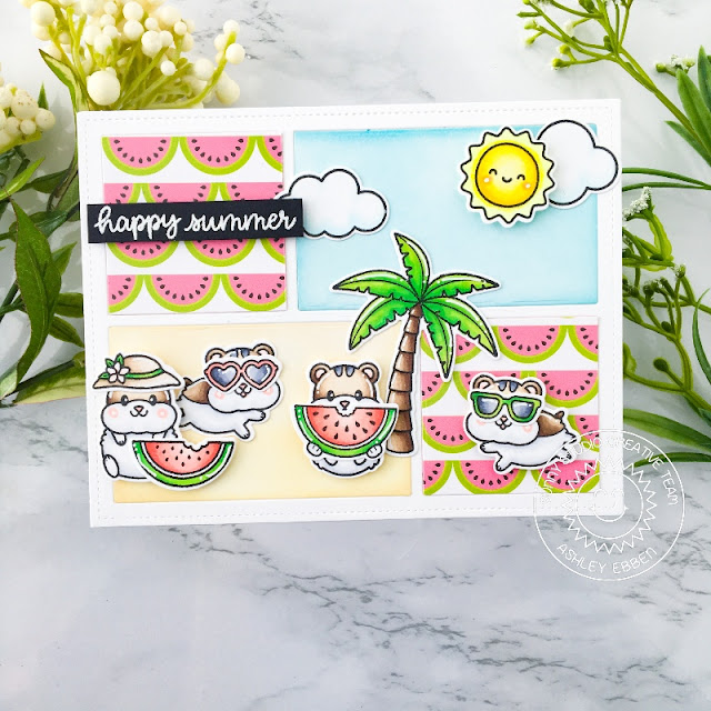 Sunny Studio Stamps: Happy Hamsters Beach Buddies Comic Strip Speech Bubble Dies Hamster Themed Card by Ashley Ebben