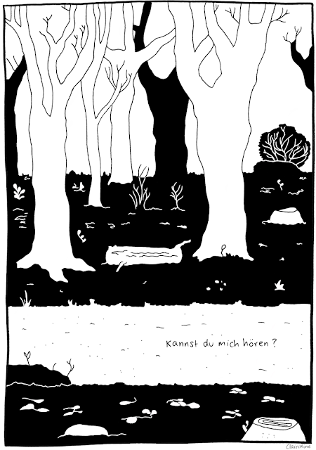 """Black and white illustration of a trail in the forest, with bare bush branches and trees. Text says """"can you hear me?"""" in German."""
