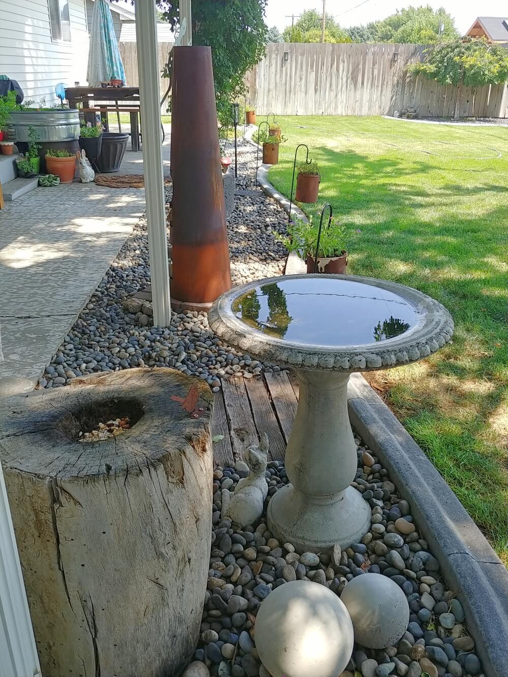 birdbath patio view
