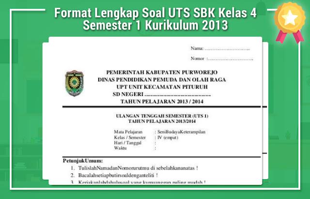 Soal UTS SBK Kelas 4 Semester 1 Kurikulum 2013