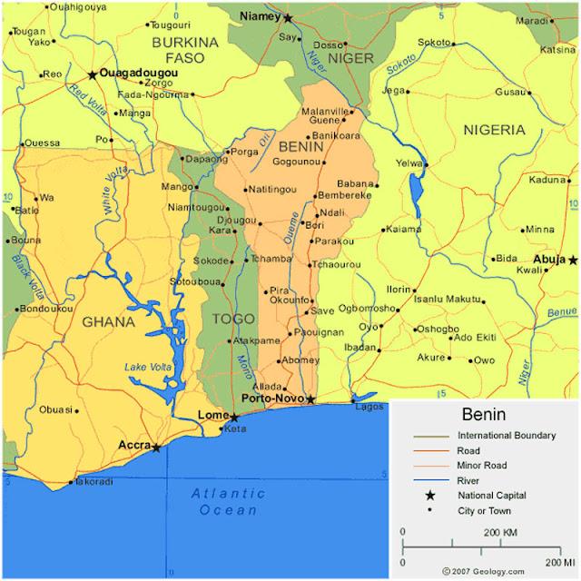 Gambar Peta Wilayah Negara Benin HD