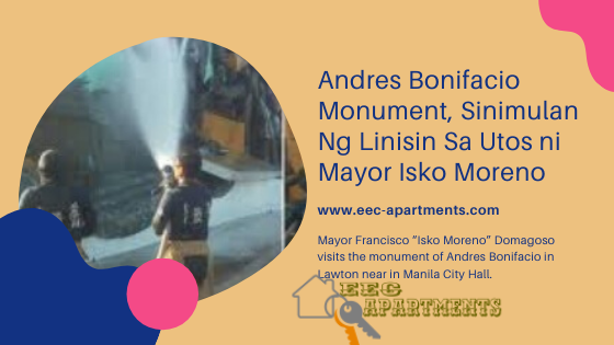 "Mayor Francisco ""Isko Moreno"" Domagoso visits the monument of Andres Bonifacio in Lawton near Manila City Hall."