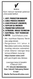 Lowongan Kerja PT. Volex Indonesia (Ditutup 5 Februari 2021)