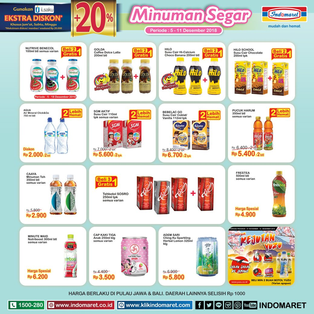 Indomaret - Promo Minuman Segar Periode 05 - 11 Desember 2018