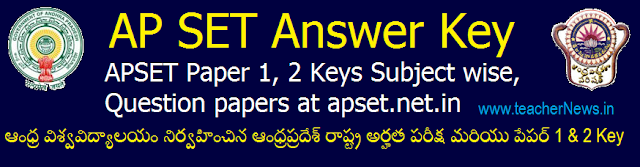 AP SET Answer Key 2018 - APSET Paper 1, 2 Keys Subject wise, Question papers @apset.net.in
