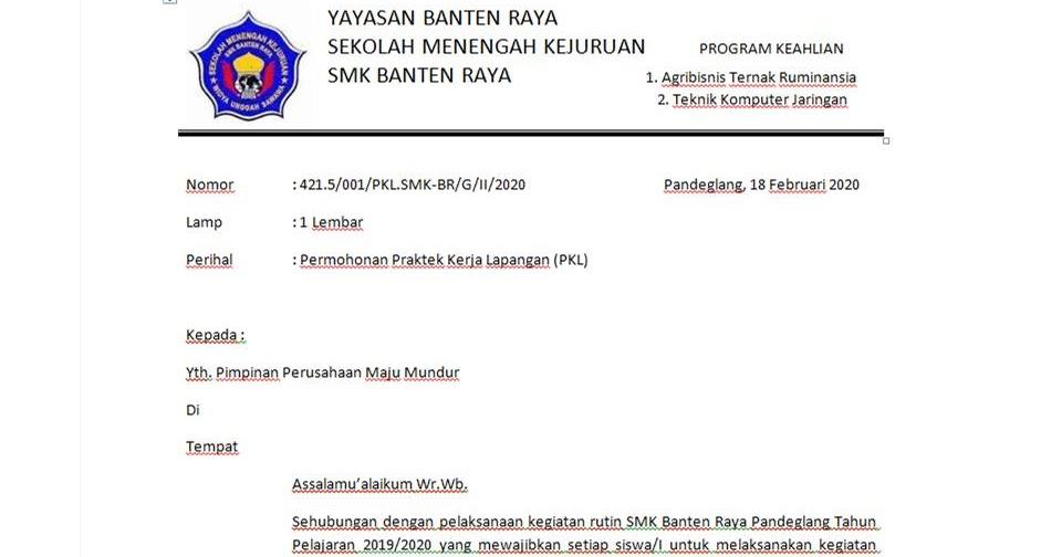 Contoh Surat Permohonan Praktek Kerja Lapangan Pkl Husnuls492 Com