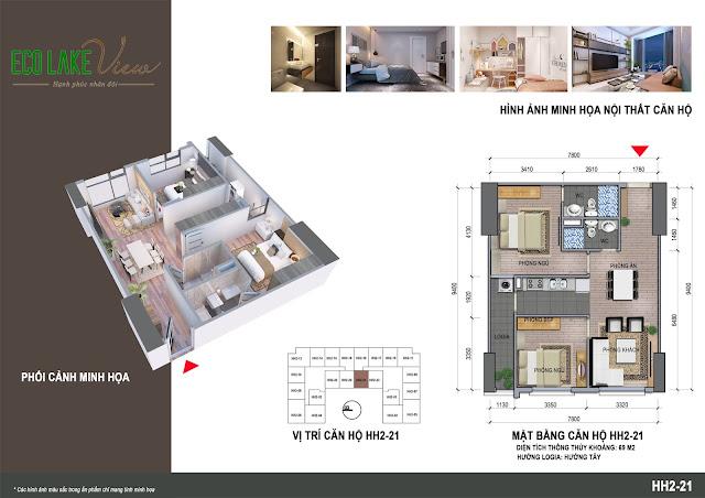 Thiết kế căn hộ C1B - 21 tòa HH2 ECO LAkE VIEW