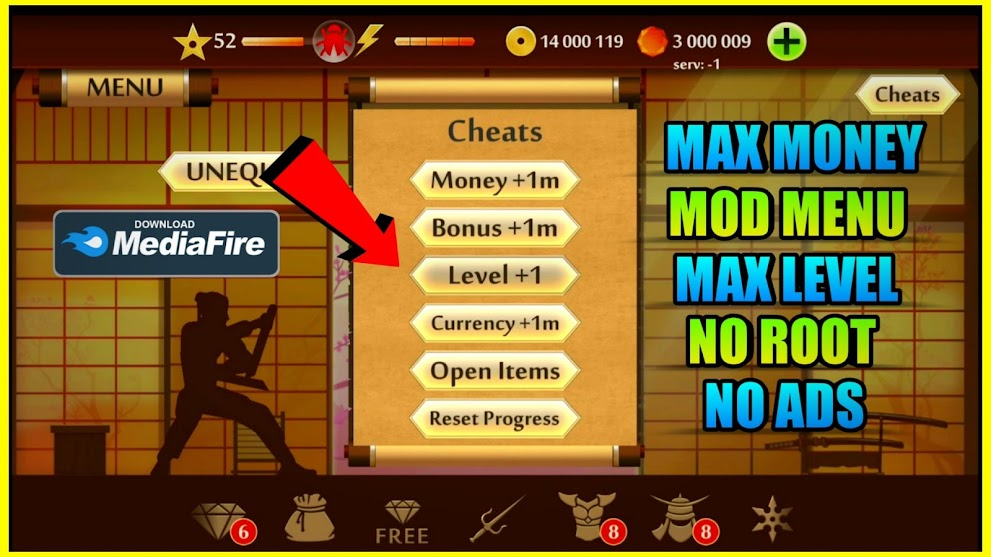 Shadow Fight 2 MOD APK 2.15.0 (Max Level 52/All weapons Unlocked/Unlimited Coins