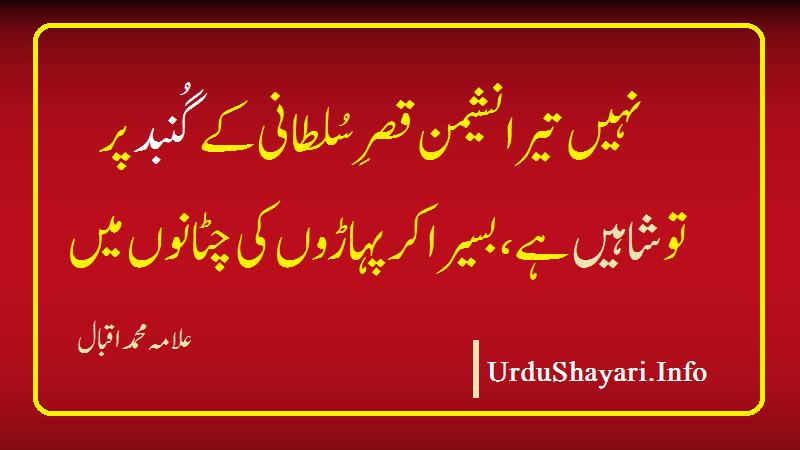 iqbal poetry - shayari on Shaheen - شاہین پہ شاعری