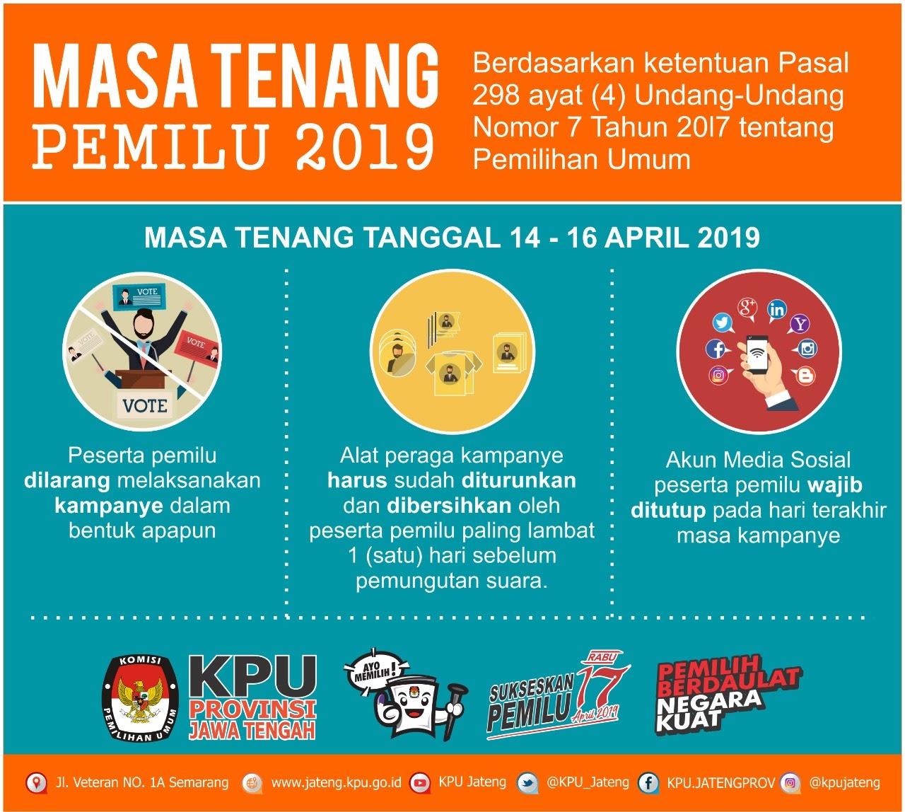 14 - 16 April, Hari Masa Tenang Pemilu 2019
