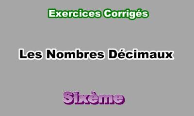 Exercices Corrigés de Nombres Décimaux 6eme en PDF