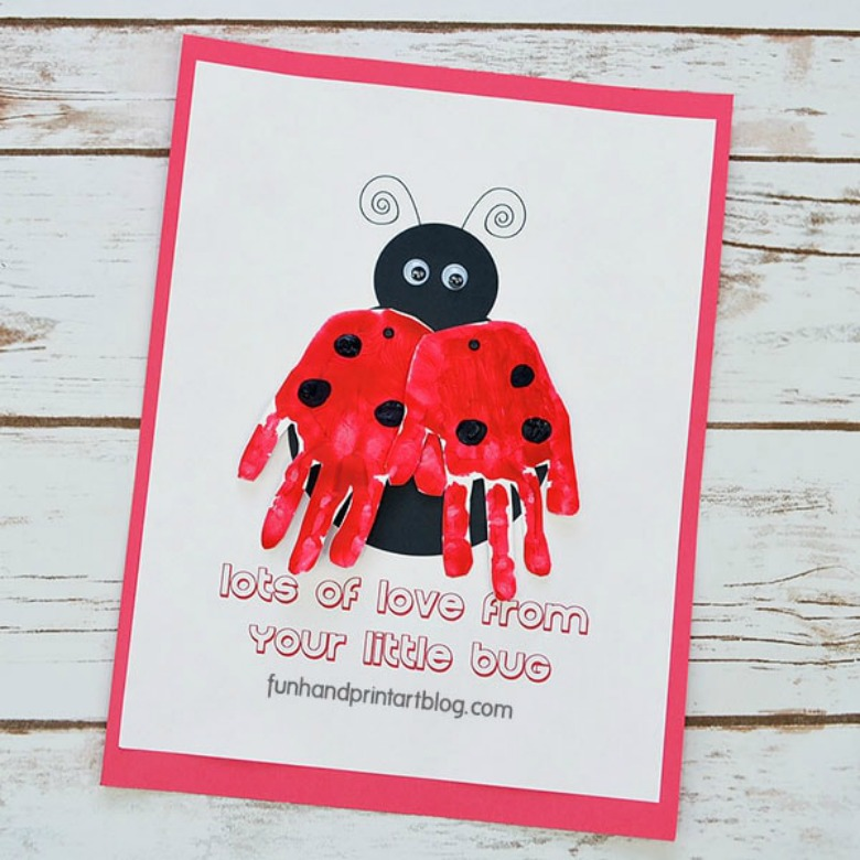 ladybug handprint Valentines Day crafts for toddlers
