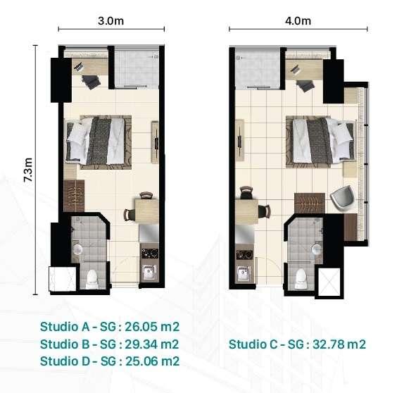 Denah Apartemen Pacific Garden Tipe Studio