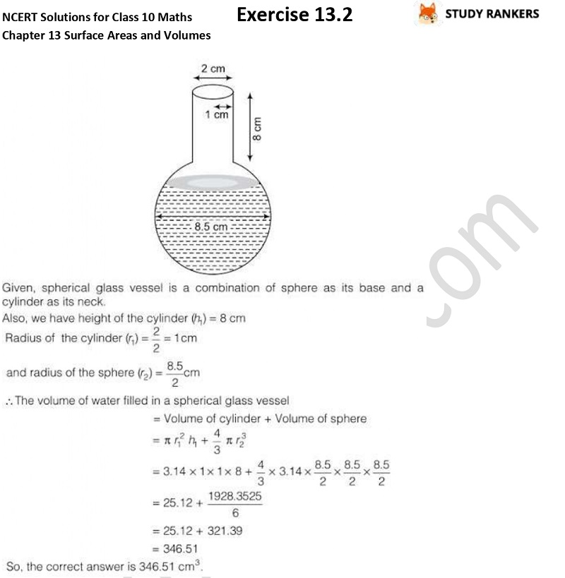 NCERT Solutions for Class 10 Maths Chapter 13 Surface Areas and Volumes Exercise 13.2 Part 9
