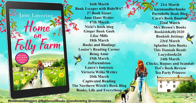 Home on Folly Farm by Jane Lovering blog tour banner