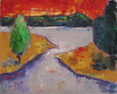 Оксана Лупич, Красный закат. 2012 (Масло, холст, 40х50)