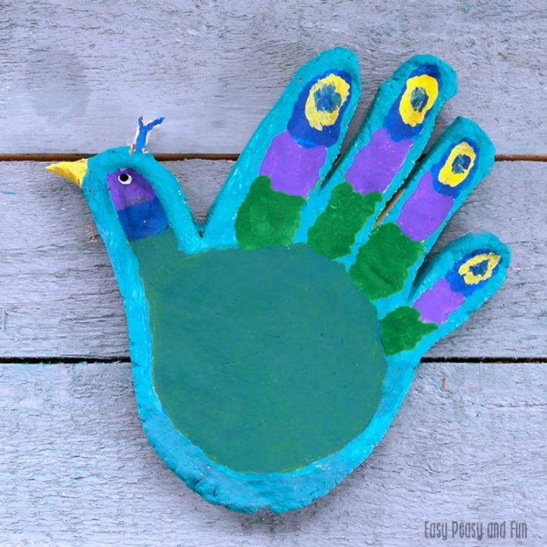 peacock salt dough handprint craft