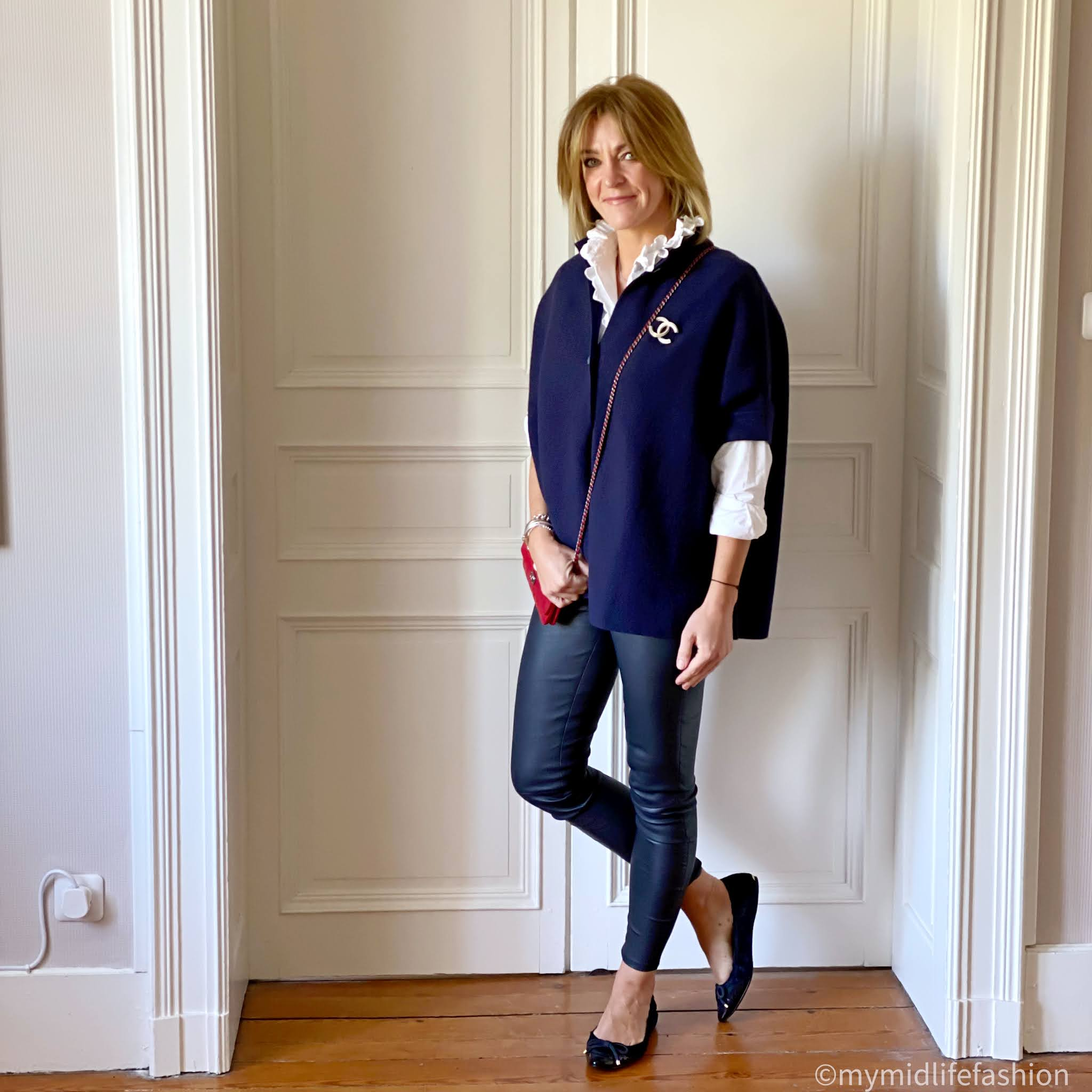 my midlife fashion, pink avocet Bergamo jacket, Isabel Marant Etoile blouse, Chanel brooch, Chanel wallet on chain, uterque leather leggings, Burberry ballet pumps