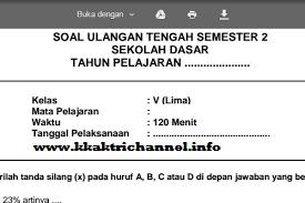 Soal UTS Genap Bahasa Indonesia Kelas 5 Terbaru