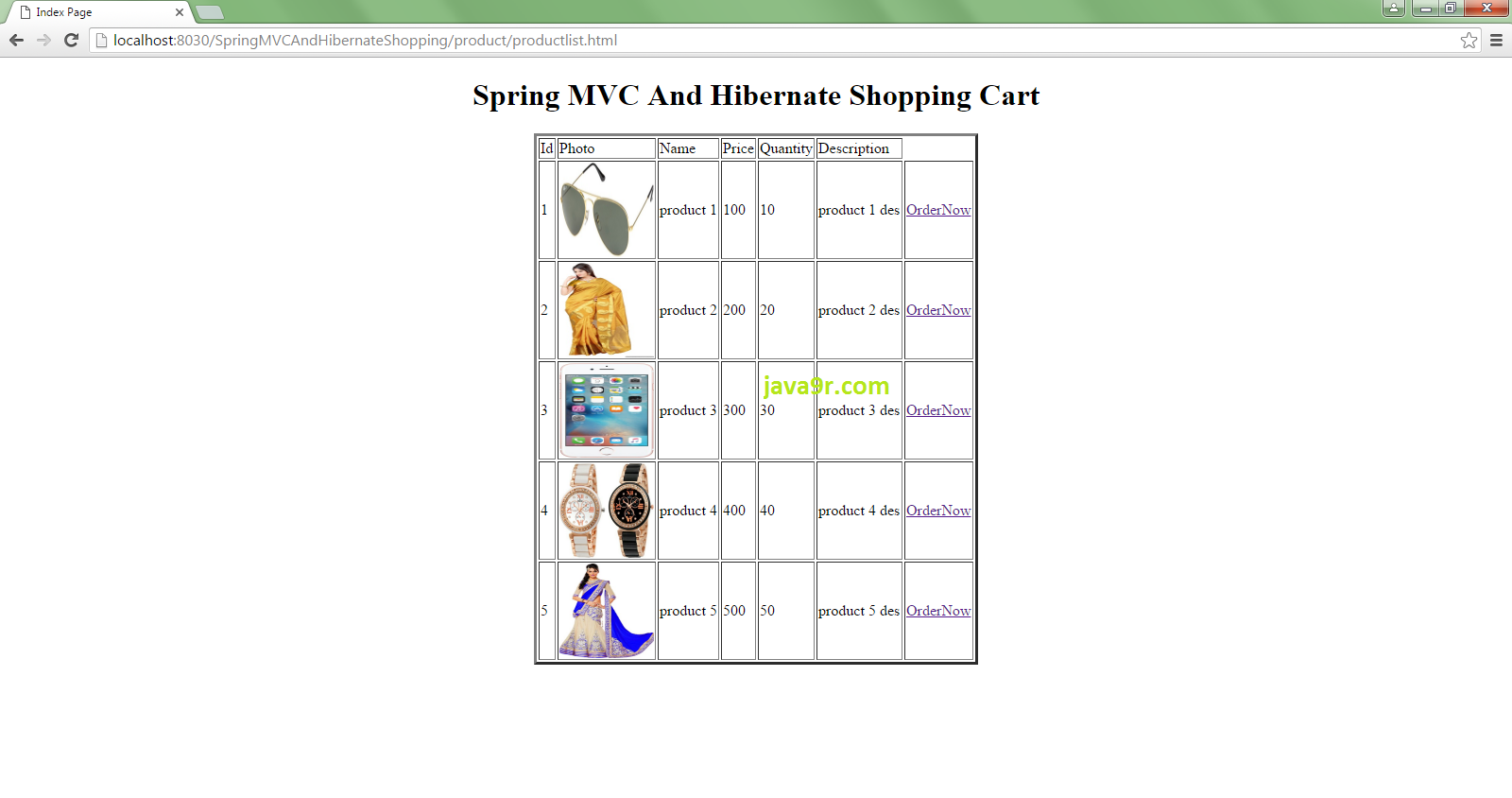 Java9R: Spring MVC And Hibernate Shopping Cart