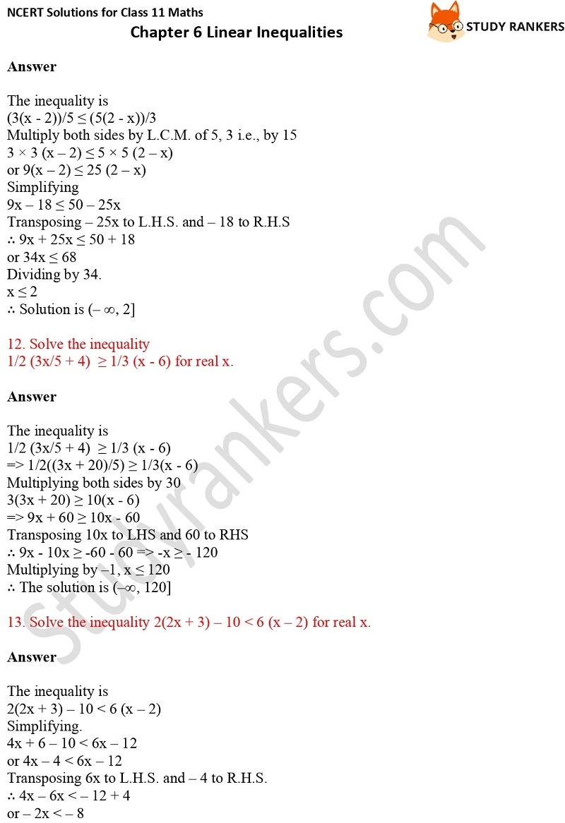NCERT Solutions for Class 11 Maths Chapter 6 Linear Inequalities 4