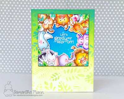 Let's Party Out Tails Off Card by Samantha Mann for Newton's Nook Designs, Birthday Card, handmade cards, Distress Oxide Inks, Zoo, animals, #birthdaycard #cards #newtonsnook #tropicalleaves