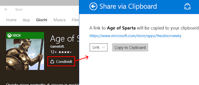 Copiare link app Store Windows 10 con Share via Clipboard