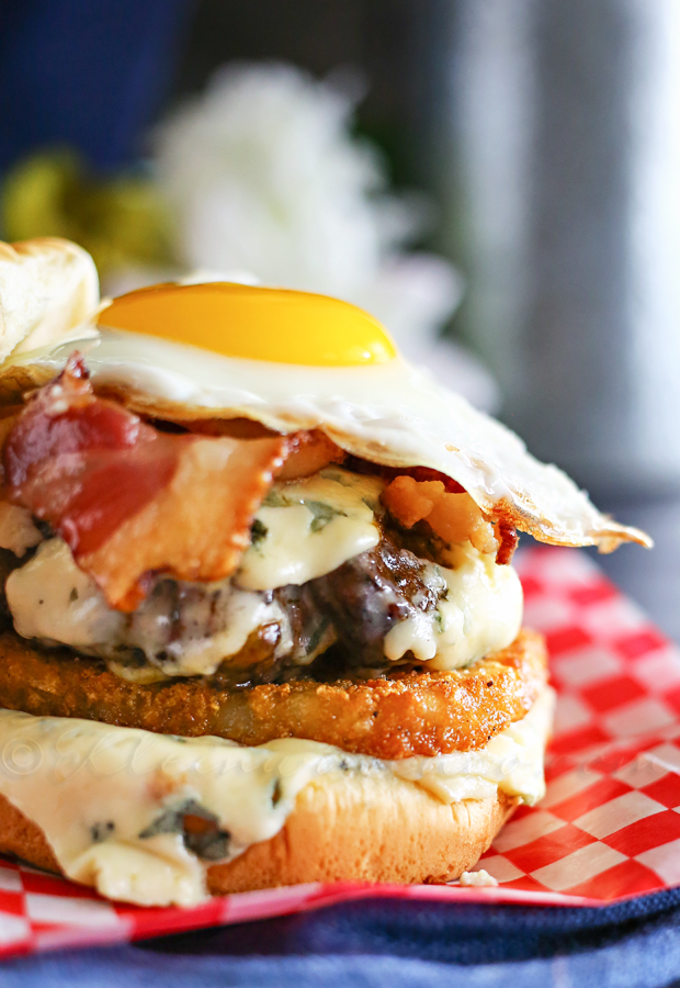 "Blue Cheese ""Breakfast"" Burger from Kleinworth and Co."