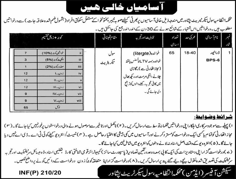 Jobs in Civil Secretariat Peshawar