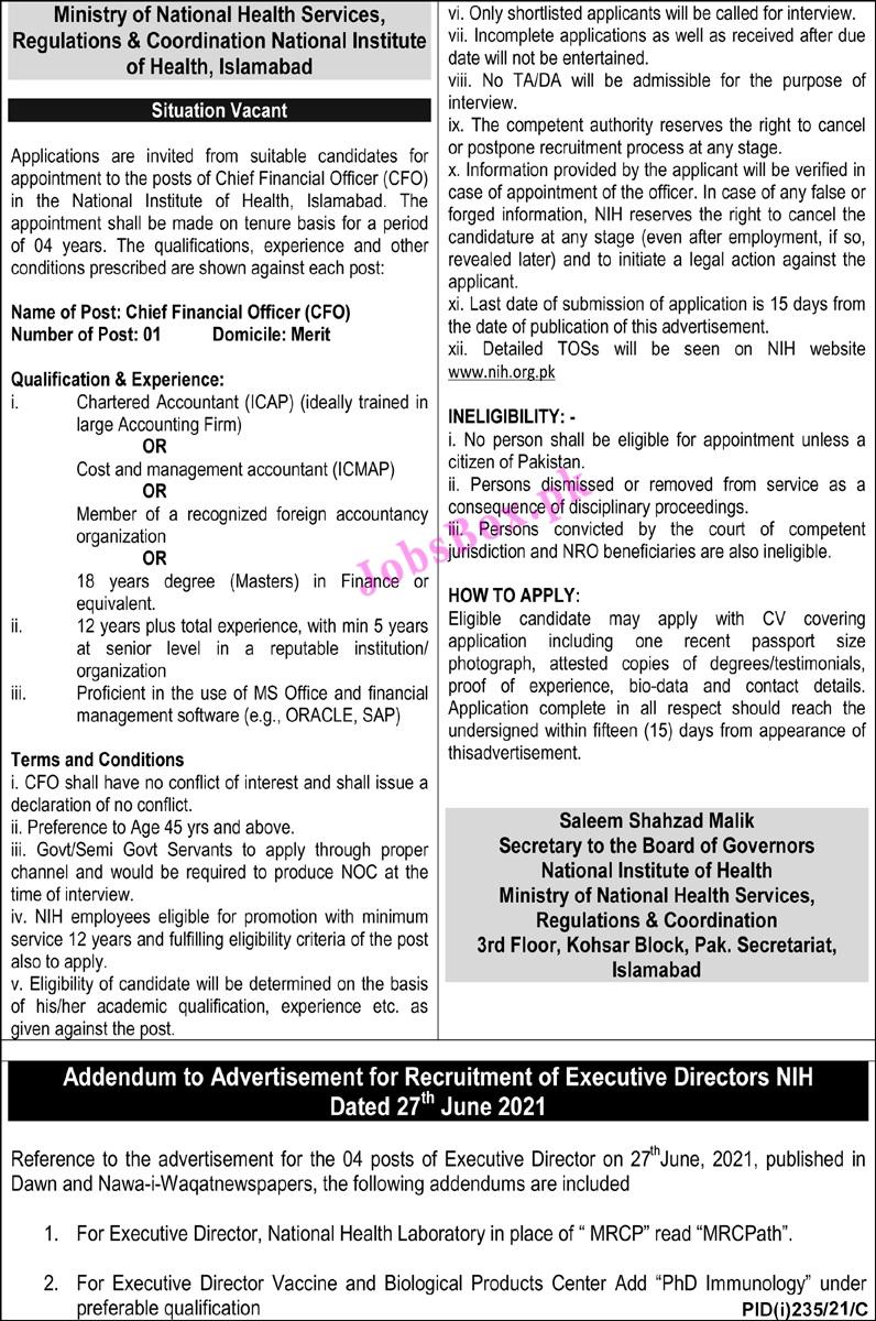 National Institute of Health NIH Jobs 2021 – www.nih.org.pk