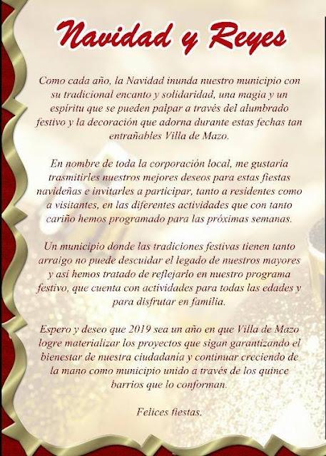 Programa de Navidad Villa de Mazo 2018-19