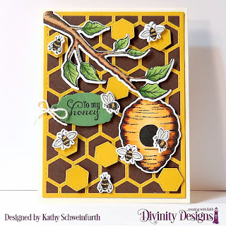 Stamp/Die Duos: Bee-lieve Custom Dies: A2 Portrait Card Base with Layer, Quilted Honeycomb Background, Mini Tags