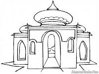 Lembar Mewarnai Gambar Masjid