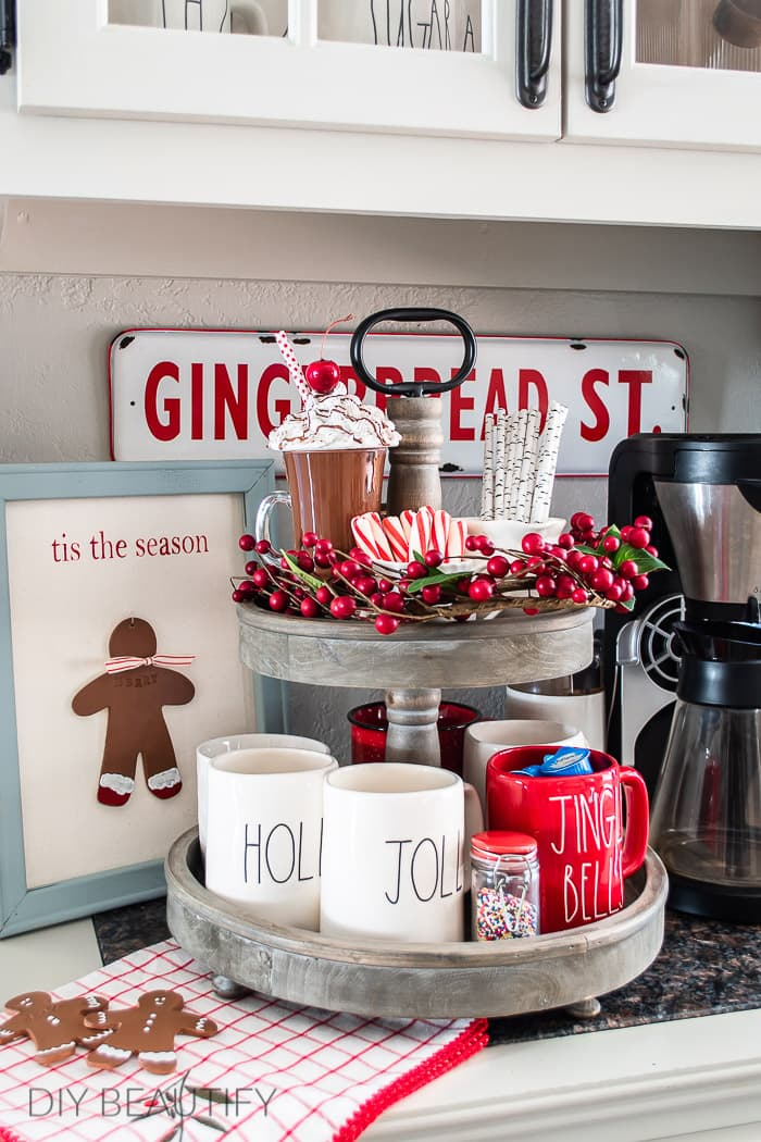 Christmas tiered tray and DIY gingerbread man decor