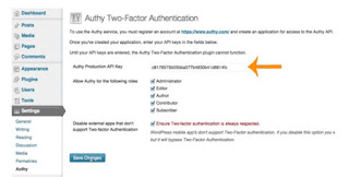 Authy API Key to enable two-factor authentication