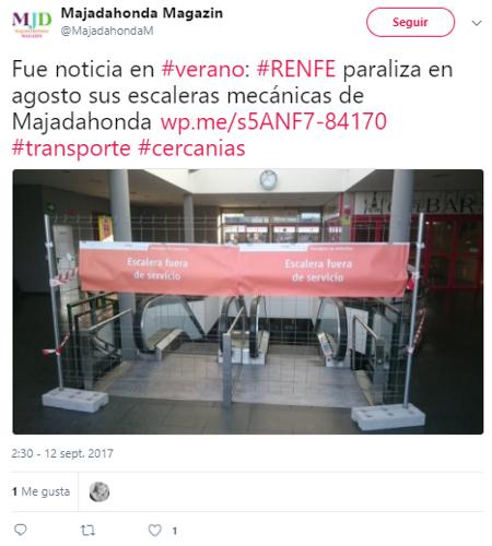 Renfe paraliza en agosto escaleras mecánicas de Majadahonda
