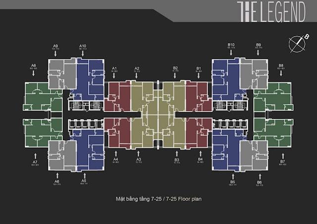 Phối cảnh mặt bằng tầng 7-25 The Legend