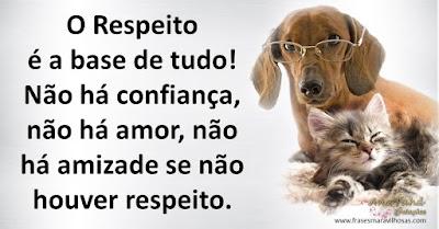 O Respeito é a base de tudo! Não há confiança, não há amor, não há amizade se não houver respeito.