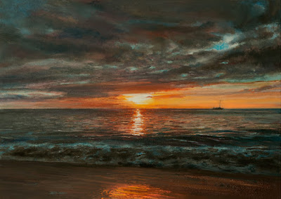 Sunset Beach oil painting by Jeff Ward www.stungeonstudios.com
