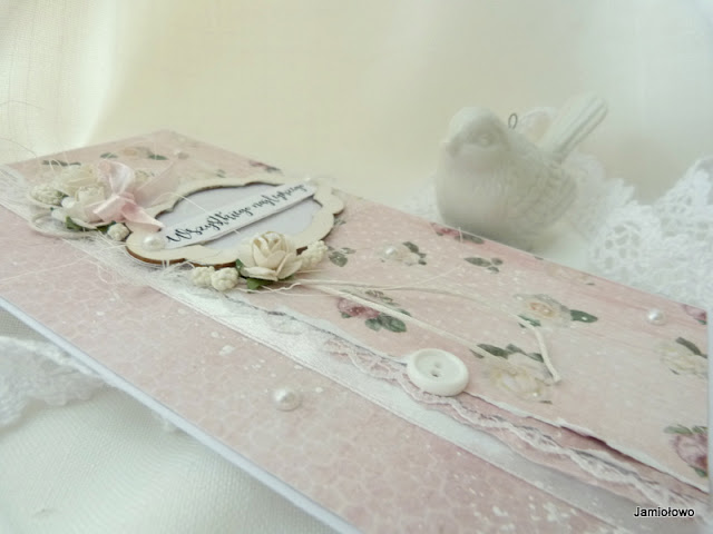 delikatna kartka z motywem różanym