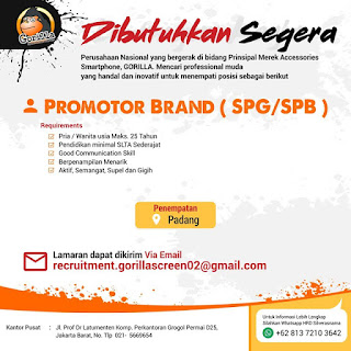 Info Lowongan Kerja SPG/SPB Gorilla Smartphone Padang